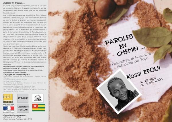 Programme de Paroles en chemin avec Kossi Efoui