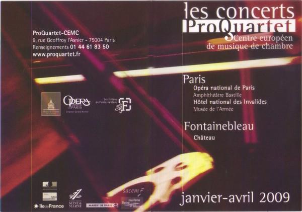 Programme des concerts. 2009